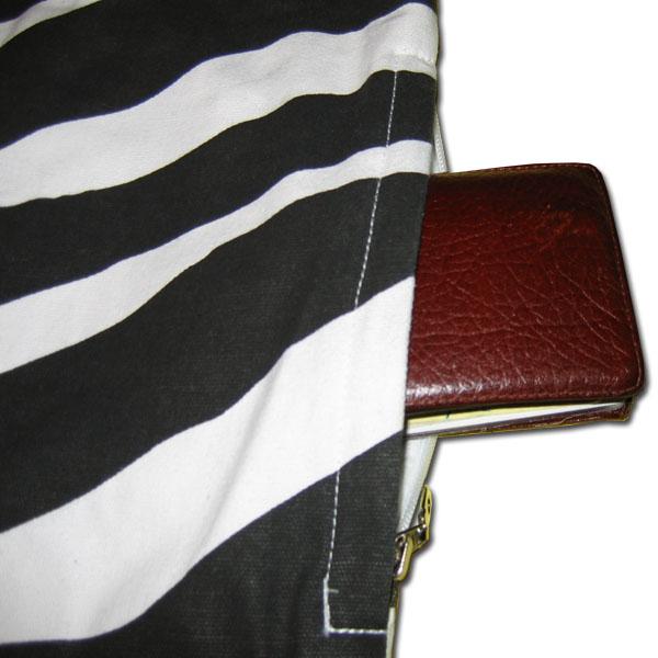 Zebra black and white canvas tote bag