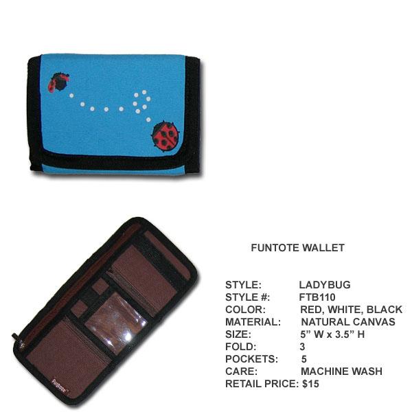Funtote Ladybug canvas wallet