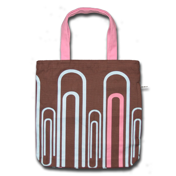 Funtote Paper clips sidezipper unique designer canvas tote bag