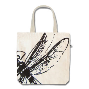 Funtote® Dragonfly city canvas tote bag