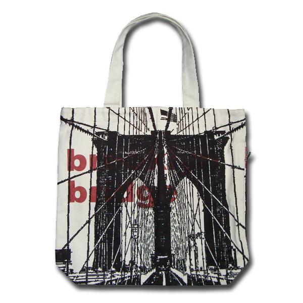 Funtote Brooklyn Bridge canvas tote bag(white)