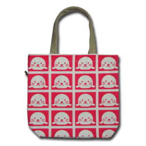 Funtote® Baby Seal book canvas tote bag