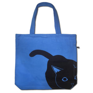 Funtote® Cat canvas tote bag(blue)