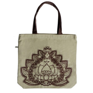 Funtote® Lotus Flower yoga canvas tote bag