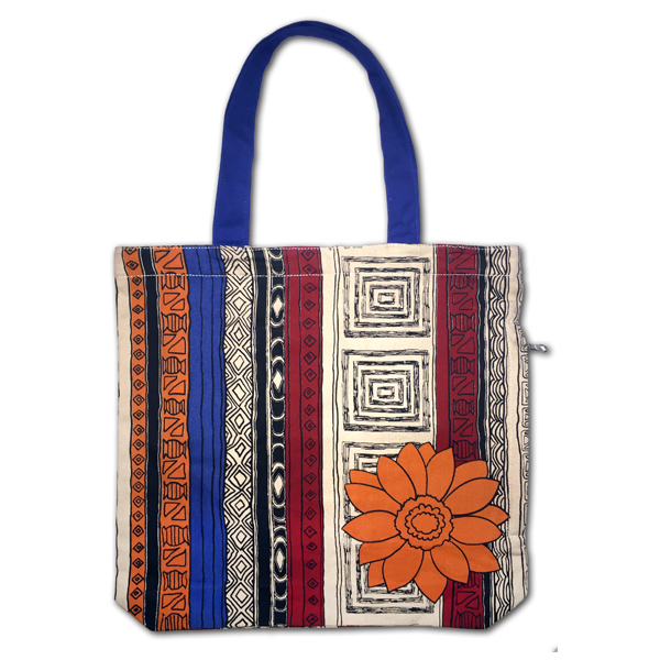 Funtote® African Flower fashion designer graphic canvas tote bag